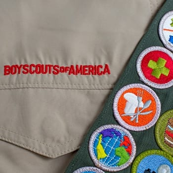 Boy Scout sash with badges